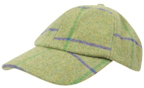 Ladies Tweed Baseball Cap Derby One Size Teflon Country Waterproof New Wool