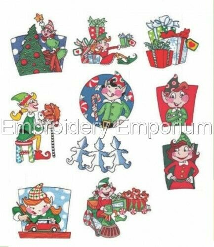 BUSY ELVES COLLECTION MACHINE EMBROIDERY DESIGNS ON CD OR USB