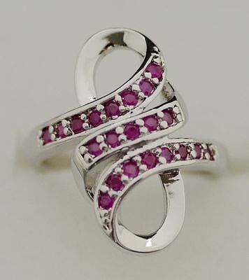 GENUINE RED RUBY 925 SILVER Infinity RING SIZE 5.5:6.5:7.5