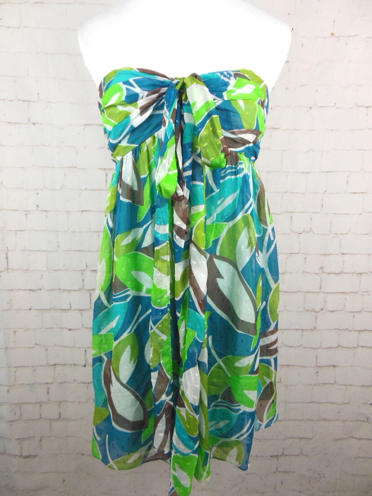 ..AN ORIGINAL MILLY Multicolord Abstract Swiss Dot Halter Dress Sz 6