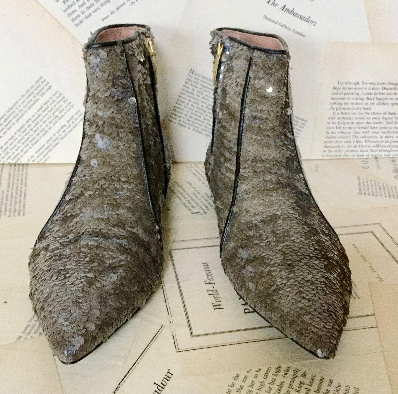 NEW Day Birger Et Mikkelsen Mikkelsen Mikkelsen Platinum Sequin Pointy Ankle Stiefel 38 162548