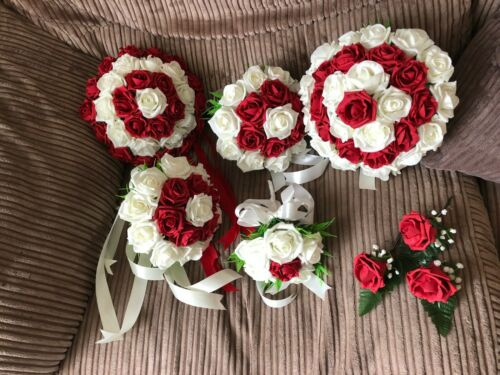 Wedding Flowers Bride/'s Package Bouquet Ruby red  /& Ivory
