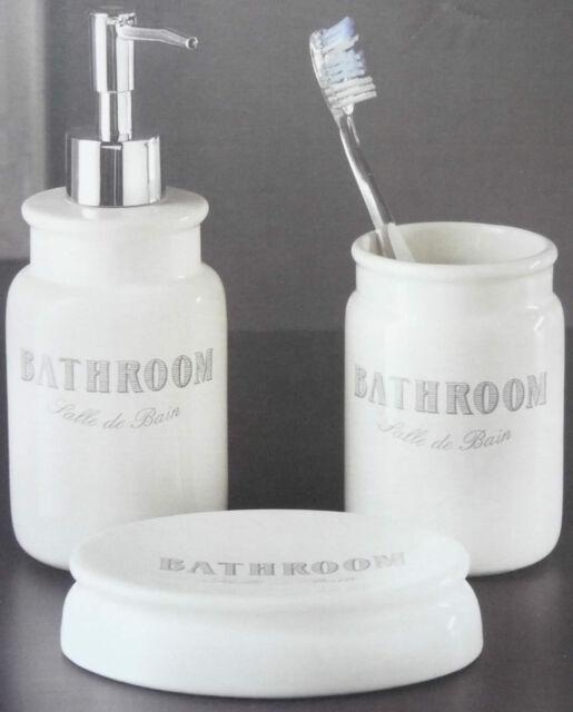 Set Salle De Bain.3 Piece Ceramic Bathroom Set Salle De Bain Tumbler Soap Dispenser Soap Dish New
