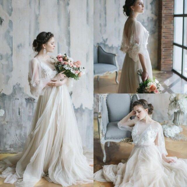 Bohemian Wedding Dress Beaded Crystal 3 4 Sleeves Summer Bridal Gown A Line Boho
