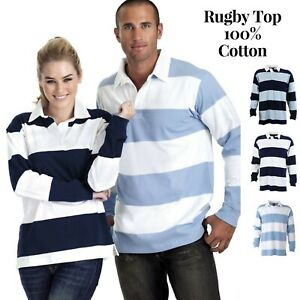 Identitee-Men-039-s-Striped-RUGBY-TOP-100-Cotton-Long-Sleeve-Jumper-Polo-Shirt