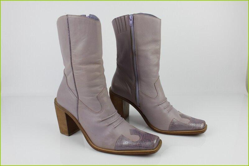 Vintage Stiefletten Stiefel Andre Vollleder Lila T 40 Seht Guter Zustand