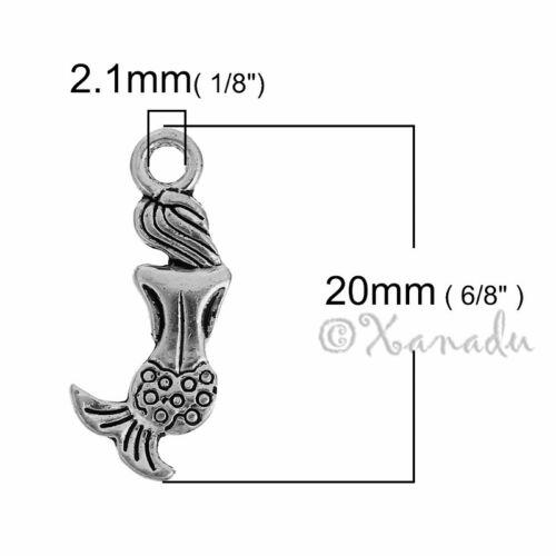 Mermaid Charms 20 Or 50PCs Antiqued Silver Plated Ocean Pendants C1689-10