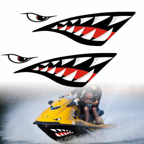 1 Pair Shark Teeth Mouth Vinyl Decal Stickers for Kayak Canoe Dinghy Boat