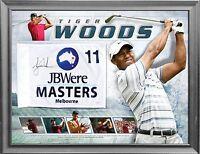 Tiger Woods Hand Signed Framed Melbourne Masters Golf Flag Limited Edition Scott