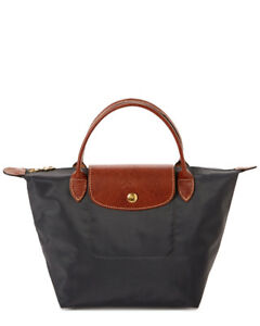 Longchamp-Le-Pliage-Small-Nylon-Tote-Grey