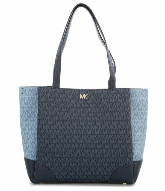 New Michael Kors Gala Medium Color Block Logo Tote Admiral Pale Blue Nwt