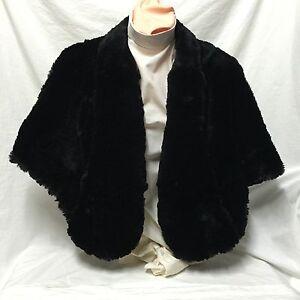 Black-Fur-Shawl-Wrap-Sleeveless-Cape-2-Front-Hooks-Lloyds-Furs-Hartford-Conn