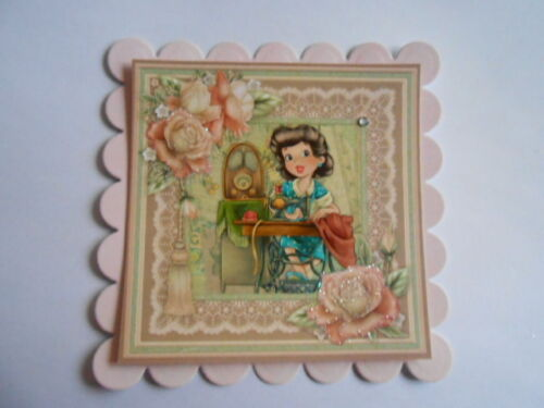PACK 2 VINTAGE SEWING LADY TOPPERS  FOR CARDS /& CRAFTS
