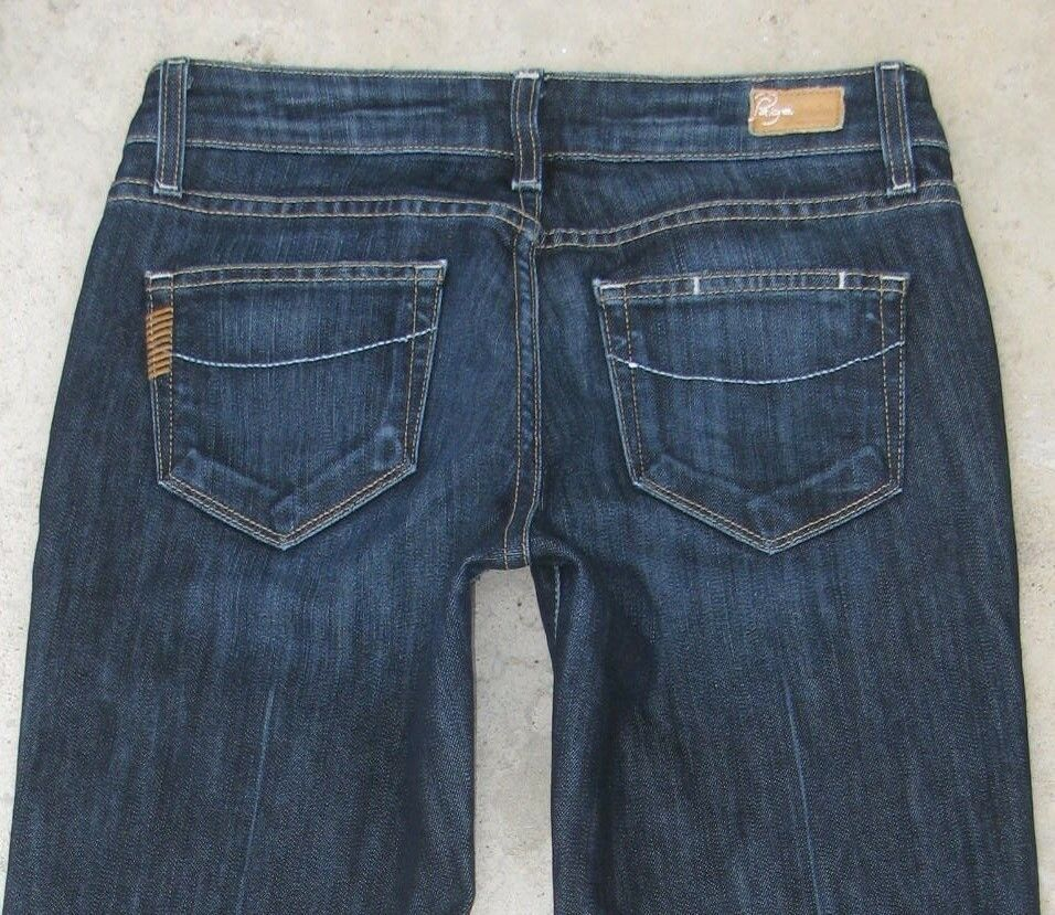 Paige Premium Jeans Laurel Canyon Low Bootcut Dark Distressed Sz 25
