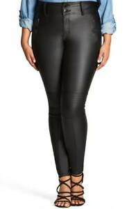 City-Chic-Wet-Look-Skylar-High-Rise-Moto-Stretch-Skinny-Jeans-14W-Black-2882