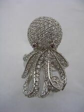 OCTOPUS RING WITH CUBIC ZIRCONIA AND RUBY EYES SET IN STERLING SILVER