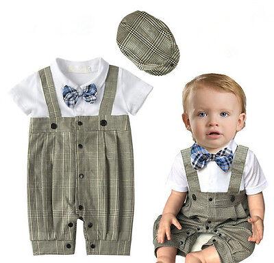 2pcs Baby Boy Romper Overalls Hat Cap Kids Children Toddler Clothes Outfit Set