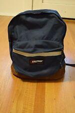 Vintage Eastpak Leather Bottom Backpack Day Pack Navy Blue USA MADE Reflective