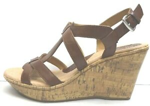 Boc Born Size 10 Brown Leather Wedge Sandals New Womens Shoes
