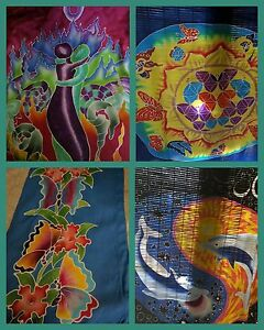 Wall-Tapestry-Assorted-Hand-Batik-Painted-Flower-Life-Butterfly-Twin-Souls-Yin