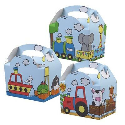 12 x Childrens Kids Themed Carry Food Meal Box Birthday Party Loot Bag Boxes