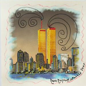 MARIA MURGIA 11 settembre 2001 CM 30X30 pezzo unico dipinto su cartoncino