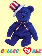 Sam Blue 2003 Ty Beanie Babie 8in Patriotic Hat Bear 3up Boys Girls 40075 02e2fb5189b8