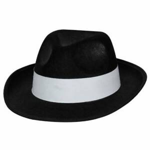 f95193b66 Details about Al Capone Black Gangster HAT Mob Michael Jackson Trilby Fancy  Dress