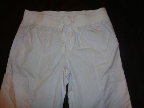 Peaches White Paige Top 4178 /& 7438 Comfort Pants Medical Scrub Set Medium New