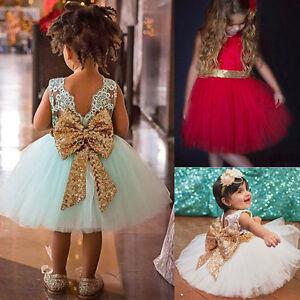 Petite-Fille-Enfant-Bebe-Robes-Paillettes-Mariage-N-ud-Fete-de-Princesse-Tutu-UK