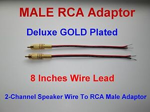 2 Channel Speaker Wire To RCA GOLD PL Adapter Amp Receiver Powered ...