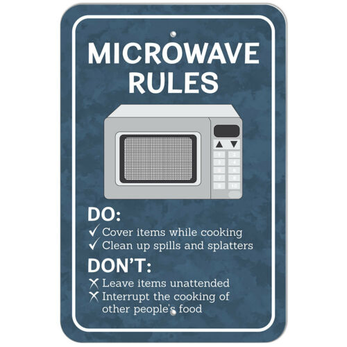 Plastic Sign Microwave Rules Office