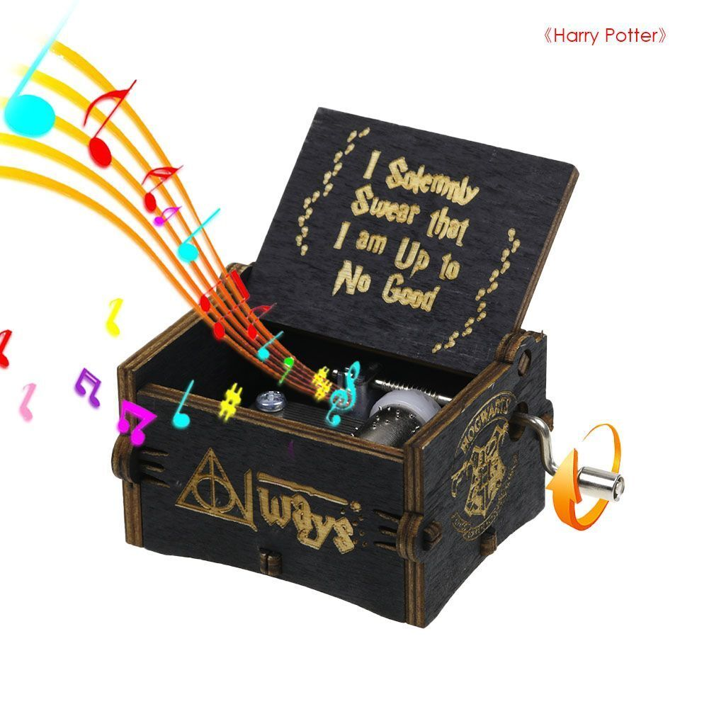 Harry Potter Music Box Engraved Hand Cranked Wooden Music Bo