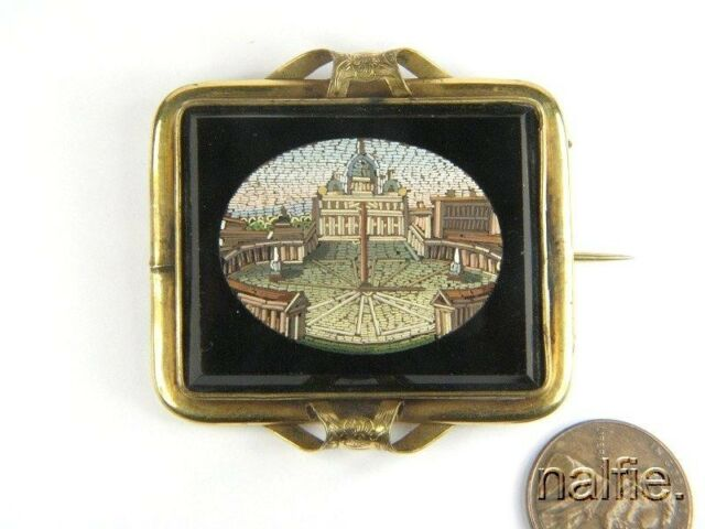 ANTIQUE VICTORIAN PERIOD GOLD MICRO MOSAIC BROOCH c1880 ST PETER'S SQUARE