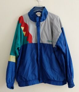 Vintage 80s ADIDAS Windbreaker Track Jacket Mens Size XL blue flame ... 7665ee1edc