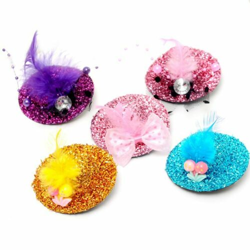 Kids Lovely Mini Top Hat Feather Hair Clip Beaded Hairpins Rhinestone Bowknot