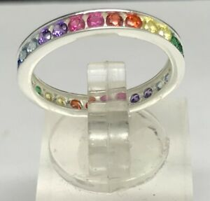 Rainbow-multicolour-full-eternity-ring-solid-Sterling-Silver-new