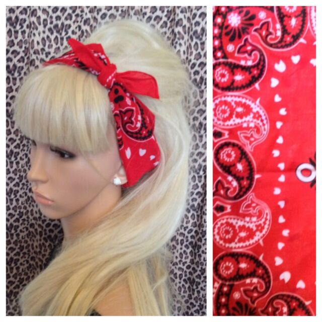 RED COTTON PAISLEY BANDANA HEAD HAIR SCARF NECK TIE 50s ROCKABILLY PIN UP URBAN
