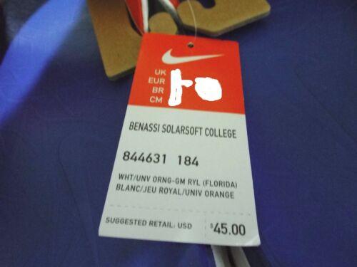 Nike Hombres Benassi universitarias Florida Gators 844631 Sandalias 12 45 Nuevos 184 Solarsoft AxFwd7xn