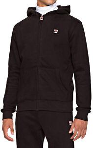 b130378f Details about FILA Mens Cotton Zip Up Tommaso Hooded Sweatshirt Top Black  Hoodie