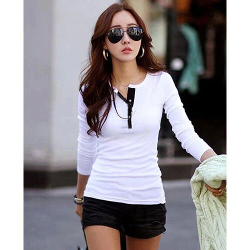 Sexy Women Casual Long Sleeve Tops Blouse Ladies Slim Basic Top T shirt Fashion