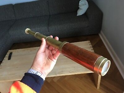 Flight Tracker Stanley London Telescope Brass + Wood Marine Teleskop / Fernrohr Messing + Holz