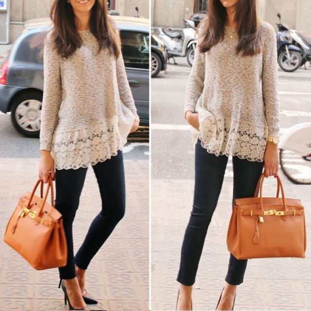 Women Casual Knitted Sweater Long Sleeve Pullover Loose Knitwear Jumper Tops M61