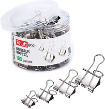 New Listing120 Rubex Binder Clips Silver Color And Mixed Size Small Medium Large Binder Cl