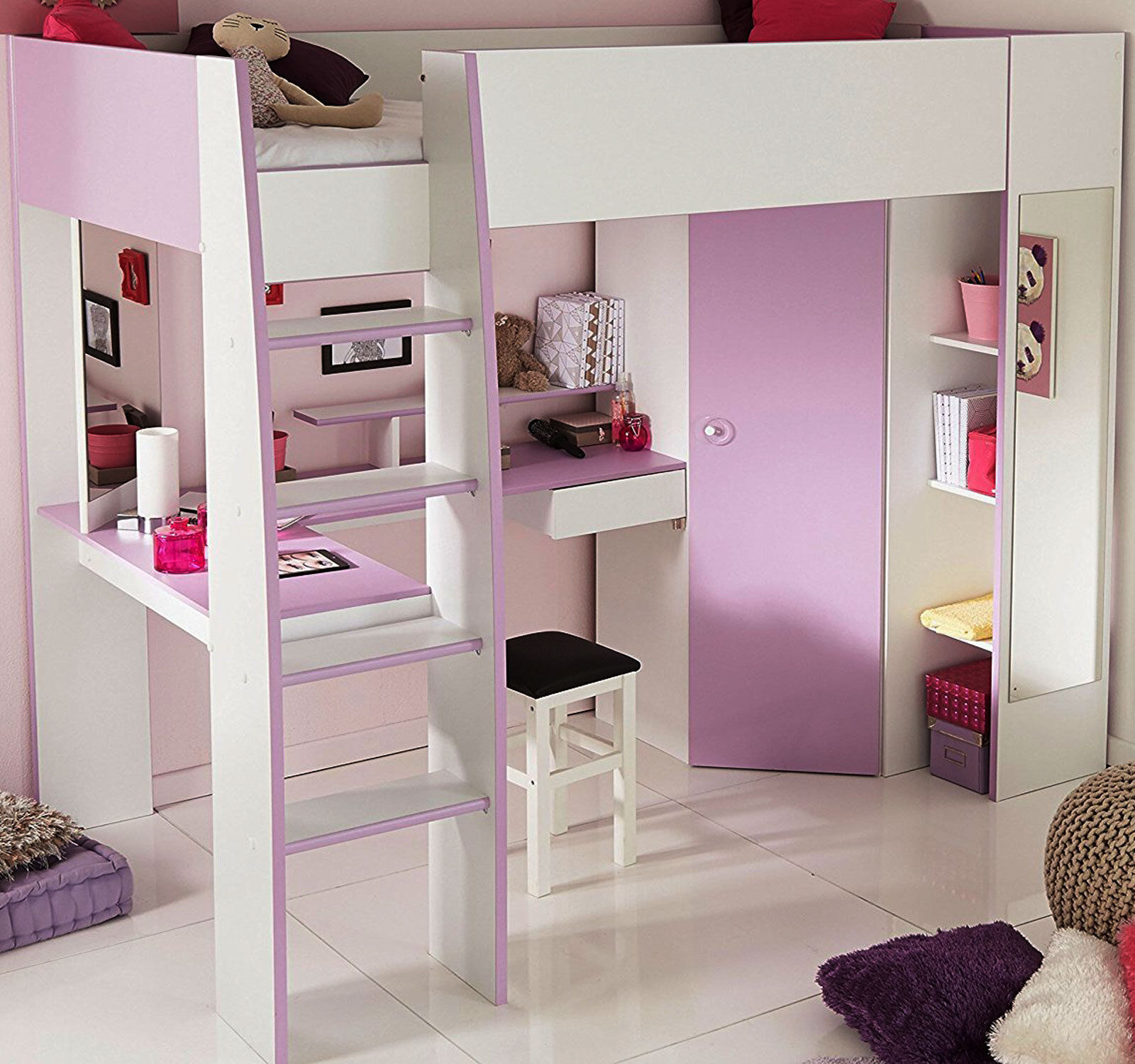 kombibett kinderbett lila weiss schrank hochbett hochbett schreibtisch yasmin ebay. Black Bedroom Furniture Sets. Home Design Ideas