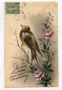 Carte postale ancienne Peinte à la main. Oiseau. Bird. Painted hand | eBay
