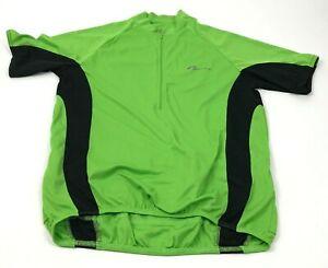 VINTAGE Nashbar Cycling Jersey Size Medium Green Black 1/2 Zip Shirt Raglan Tee