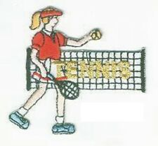 Tennis Player Serving Embroidery Applique Patch