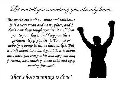 Rocky Boxing Let Me Tell Inspirational Quote Picture Motivational Poster Print