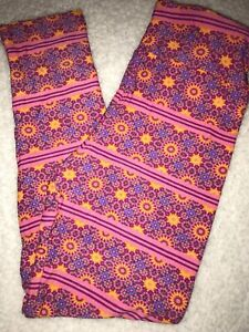 LuLaRoe Kids Leggings S//M Small Medium Purple Yellow Floral